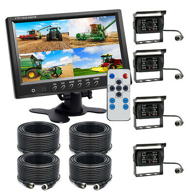 "12V-24V Wired 9"" Quad Monitor+4 X CCD Backup Rear View Camera Kit for Truck RV"