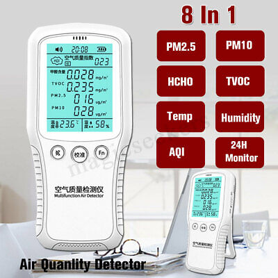 8 In 1 Air Quality Monitor Digital Detector PM10 PM2.5 LCD Display Home Room