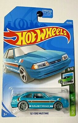 2019 Hot Wheels 92 Ford Mustang #152 Speed Blur 9/10 G Case Teal Diecast Car