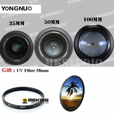 YONGNUO YN 35mm 40mm 50mm 100mm EF AF MF Prime Fixed Lens FOR Nikon +UV Filter