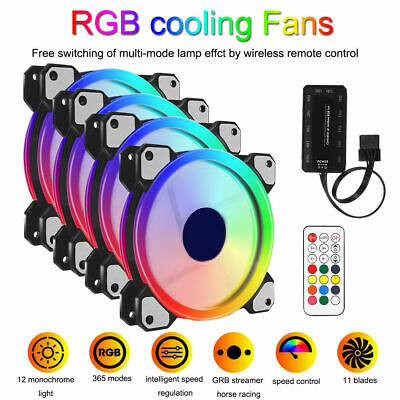5 Pack RGB LED Quiet Computer Case PC Cooling Fan 120mm with 1 Remote Control AU