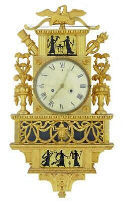 19Th Century Swedish Gilt And Eglomise Ornate Wall Clock