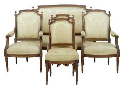 Fine 19Th Century Carved Walnut French 5 Piece Salon Suite