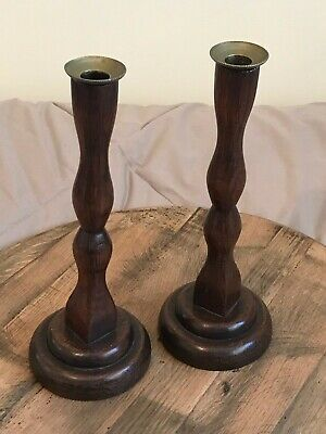 Pair of Edwardian Wooden Oak Candlesticks Brass Tops 11.5""
