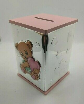 Hucha plata infantil rosa. Money box