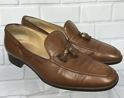 f545f494917 Vtg Gucci Men Leather Tassel Brown Loafers Gold Clasp Shoe Italy 44.5 EU  11.5 US