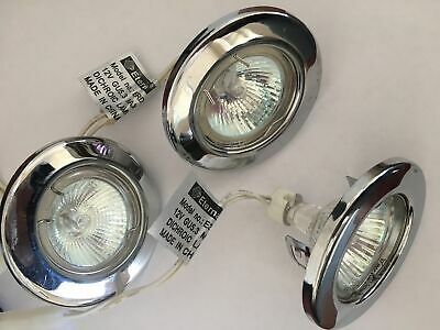 3 Pack Chrome Recessed Downlights Ceiling Circular Spotlight Clearance Litecraft