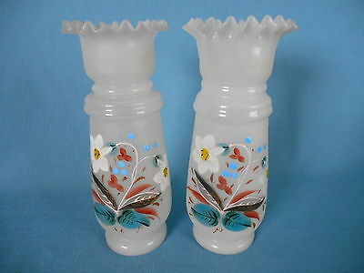 "Pair Antique BRISTOL GLASS ENAMELED WHITE FROSTED 8 1/2"" VASES w/ LILY FLOWERS"