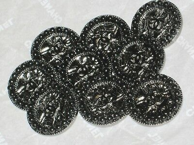 Chanel 8 Cc Logo Front Black Stones Metal Buttons  18 Mm/ 3/4''   New Lot 8