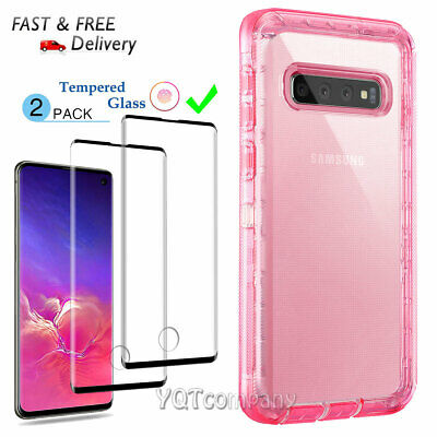 For Samsung Galaxy S10+ Plus / S10e Clear Pink Case Cover With Screen Protector