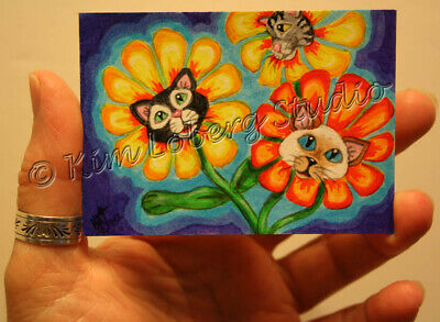 Feline Cat crazy Kitty retro Pet Daisy aceo EBSQ Loberg Mini Art fantasy Flower