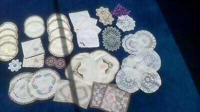 Vintage Selection of Irish Linen Mats, Napkins and Crochet Doilies New