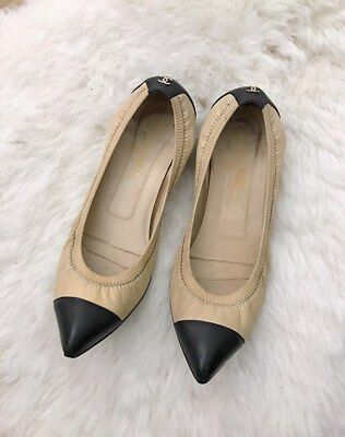 19dfe3564 Chanel Ballet Stretch Flats Shoe Beige and Black Pointed Toe CC Metal Logo  8.5
