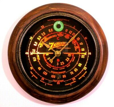 Old Antique Style Zenith Black Dial Wood Clock - New Clock with Tube Radio Style