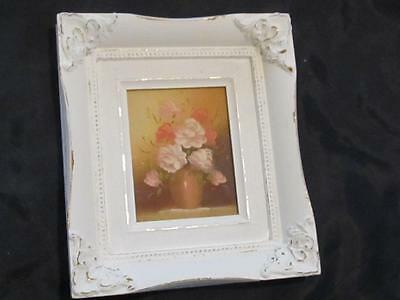 HAND PAINTED ROSES in WHITE ORNATE FRAME WALL DECOR~SHABBY PATINA~WOOD~Cottage
