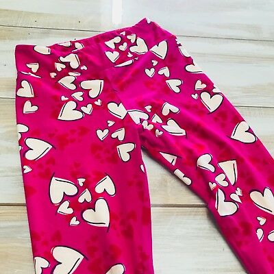 Youth girls Lularoe pants hearts NWOT leggings pink red cream