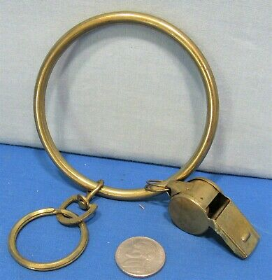Brass Jailers Key Ring ~ Brass Policeman's Ball Style Whistle 1970's Heavy Duty