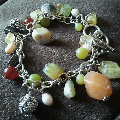 """Heavy  Sterling Silver with Stones Bracelet 8"""" long"""