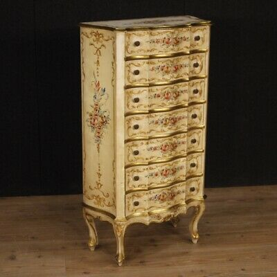 Weekly Venetian Furniture Chest of Drawers Dresser Wood Lacquered Antique