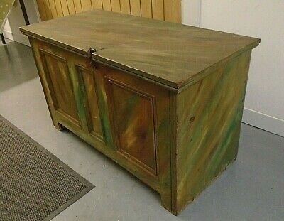 3' Painted Vintage Solid Pine Ottoman Candle Box Coffer Trunk Blanket Toy Chest