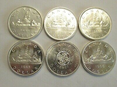 Lot of 6 Canada Silver Dollars, 80% silver,  great details 1959, 1961-64 & 66