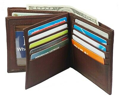 Genuine Leather Mens Bifold 2 ID's multi Card Double Flap Popular Wallet Brown