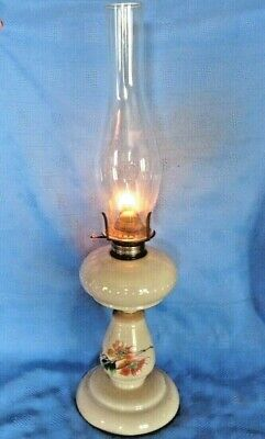 """Stunning Victorian Oil Lamp Opaline Hand Painted  20"""" High Good Working Order"""