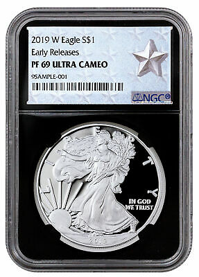 2019 W Proof American Silver Eagle NGC PF69 ER Black West Point Star SKU57139
