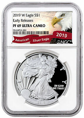 2019-W Proof American Silver Eagle NGC PF69 UC ER Exclusive Eagle Label SKU57152