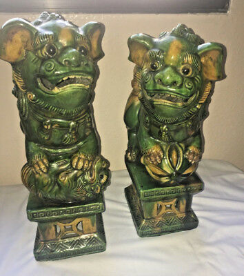Unique Pair FenShui Foo Dog Chinese Green Porcelain Hand Carving