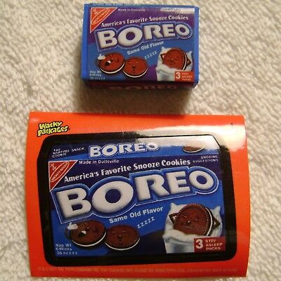 """1.25"""" Wacky Packages Boreo Oreo Cookies Eraser & Sticker Card Topps 2011"""
