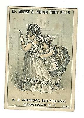 Old Trade Card Dr Morses Indian Root Pills Comstock Morristown Dickeys Mountain