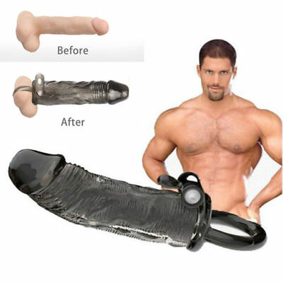 Crystal Penis Extender Enlarger Sleeve Condom Delay Ejaculation for Men w Vibro