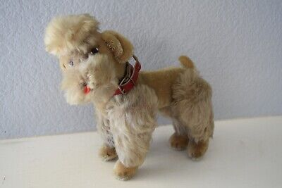 "Steiff ""SNOBBY"" 9"" grey mohair dog poodle with glass eyes-great condition-no ID"