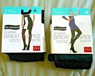 253bc8e4f1d68 2 NoNonsense Opaque Shaping Great Shapes Tights in Black NWT size Medium