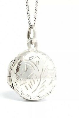 PETITE Sterling Silver 925 Small Round Floral Etched Photo Locket & Chain 2.75g