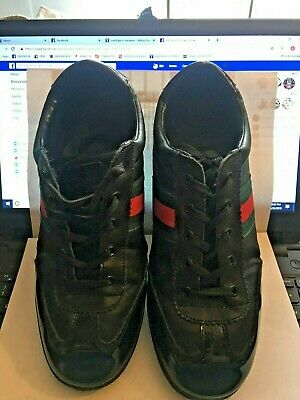 51be68fb9 MEN'S USED BLACK Leather Gucci Sneakers Size 10 - $42.00 | PicClick