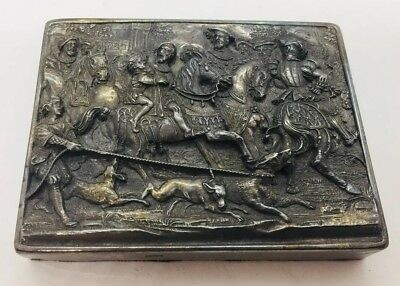 Henryk Winograd Vintage 999 Sterling Silver People On Horses & Dogs Paperweight