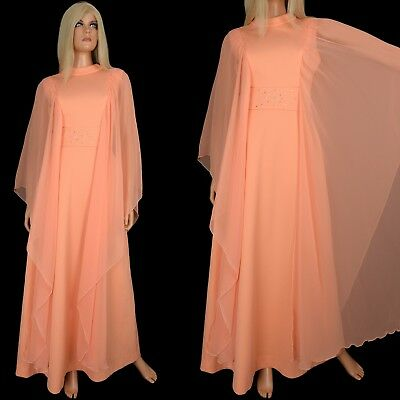 Vintage 70s Sherbet Orange MAXI DRESS Draped Chiffon Boho Goddess Bridesmaid - M