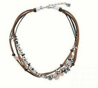 "NWT RARE Uno de 50 Leather Silver-plated & Crystal Beads 19"" Necklace ""My Way"""