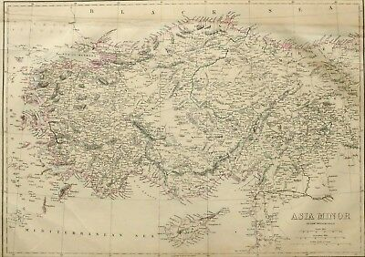 1865 Antique Map Asia Minor Karamania Roum Trebizond Smyrna Cyprus Adana