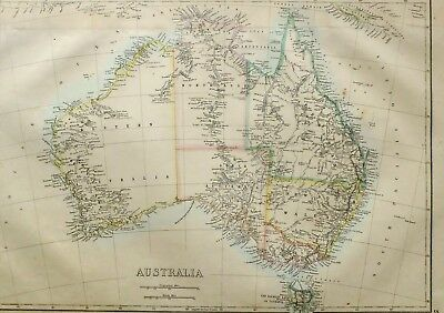 1865 Antique Map Australia New South Wales Victoria Tasmania Queensland Sydney