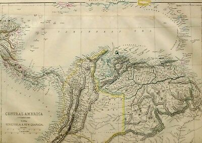 1865 Antique Map Central America Costa Rica Panama Venezuela New Granada