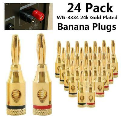24pcs 24K Gold Plated Speaker Cable Wire Connector 4mm Banana Plug Nakamichi AU