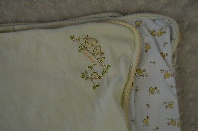 Absorba Yellow Bird Baby Blanket White Green Leaf Branch Security Lovey