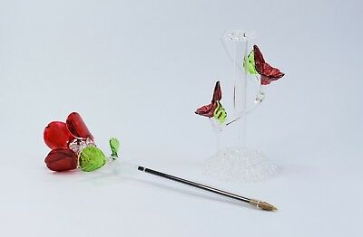 Red Rose Flower and Stand Pen Figurine of Blown Glass