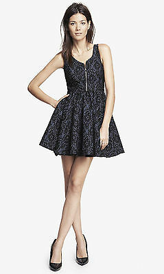 EXPRESS ZIP FRONT BONDED LACE FIT & FLARE DRESS w/EXPOSED ZIP FREE SH WAS$148.00