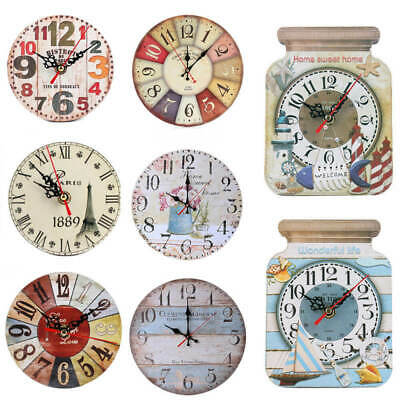 Vintage Retro Rustic Wooden Wall Clock Home Antique Chic Kitchen Room Decor QJE