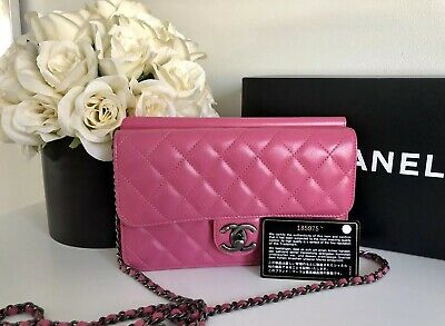 e99edae95927 AUTH CHANEL HOT Pink Quilted Matte Caviar Maxi Classic Double Flap ...