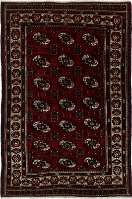 "Hand-knotted Russian Carpet 3'8"" x 5'7"" Shiravan Bokhara Traditional Wool Rug"